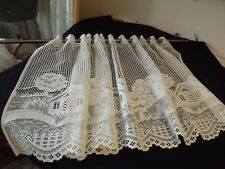 """Vintage Ivory Lace Curtain Panel Tier 52Wx24"""" Home/Trees Scene"""