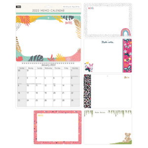 Illustrated 2022 Monthly Wall Calendar Family Organiser + Whiteboard and Pen