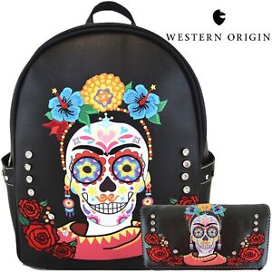 Sugar Skull Backpack Women Day of the Dead Daypack Calaveras Purse Wallet Black