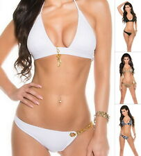 KouCla LOVE LOCK Women's Top & Bikini Bottom Swimwear Swimsuit Bikini Set- S/M/L
