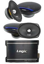 """Logic 6.5"""" 6x9"""" Pro Audio Full Range Loud Speakers 720W 4 Ch Amplifier 1600W"""