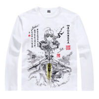 Anime Fate Stay Night Saber Casual T-shirt Long Sleeve Unisex Tops Tee White