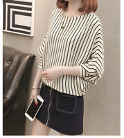 Womens Korean Stripes Bat Sleeve Knit Sweater Pullover Jumper Casual Tops Blouse