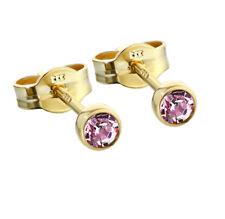 Paar Ohrstecker Gold 333er 3,50mm lavendel Zirkonia Ohrringen Kinder M62