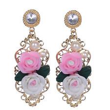 1Pair Gold Women Baroque Soft Ceramic Roses Pearl Ear Stud Eardrop Earring Gift