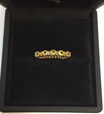 9CT YELLOW GOLD CITRINE HALF ETERNITY STYLE RING