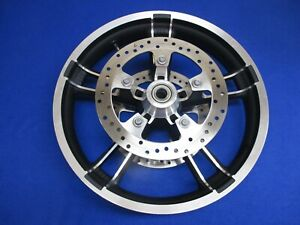 """OEM HARLEY TOURING STREET GLIDE ENFORCER 19"""" FRONT WHEEL WITH ROTORS - VERY NICE"""