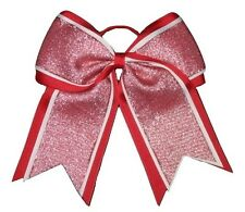 "NEW ""SHIMMER Red"" Cheer Bow Pony Tail 3 Inch Ribbon Girls Hair Bows Cheerleading"