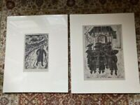 Woodblock Prints Limited Edition Vintage 1996 Signed and Numbered Slovakia