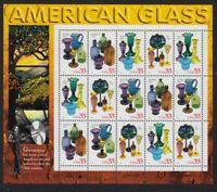 1999 33¢ American Glass Sheet of 15 Sc 3325-8 3328a MNH CV $28.50