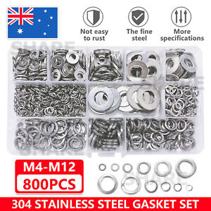 800Pcs M4~M12 Flat& Spring Washers Pad Stainless Steel Assortment Metal Lock Set