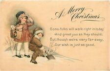 Christmas~Victorian Children Shovel Snow~Snowsuit~Bonnet~Gift Bag~Far Away Wish