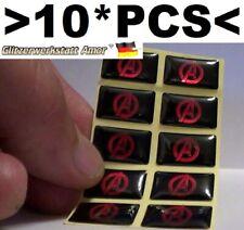 10*Pcs Auto PKW Universal > A < Heros >Epoxy Sticker Rot 3-D Abzeichen Aufkleber