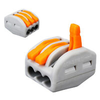 10pcs 3 Way Electric Cable Wire Connector Reusable Spring Lever Terminal Block