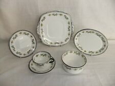 C4 Porcelain Sutherland China - yellow/green & black rim Art Deco tableware 3F6A