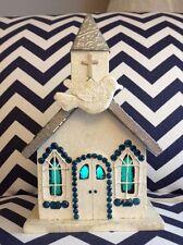 HAND-MADE LIGHT UP CHURCH TIN ROOF BLUE GLITTER!