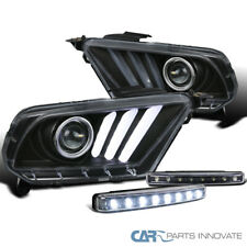 Fit Ford 10-14 Mustang Black LED & Signal Projector Headlights+8-LED Fog Lamps