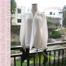 Vtg Christian Dior Big Bow Cuff Organza Oversize Signature Open Blouse/Shirt M-L