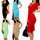 Women Casual Wiggle Pencil Dress Ladies Crew Neck Suit Slim Wear To Work Dress