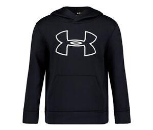 Under Armour Boys' Little Big Logo Hoodie, Black/White H19,, Black, Size 4 NWT