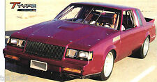 1987 Buick T-TYPE Custom SPEC SHEET/Brochure: 967 HP!