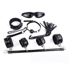 7pcs Bondage Set Kit Leg Spreader Bar Neck Collar,Whip,Cuffs Blindfold Gag Black