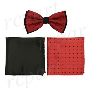 New Brand Q Men's Pre-tied Bow tie & 2 hankie black red polka dots wedding