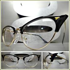 Classy Retro Cat Eye Style Clear Lens EYE GLASSES Unique Pointy Black Gold Frame