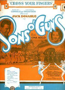 Vintage Feuille Musique Jack Donahue - En Sons O Armes Song, Croix Votre Doigts