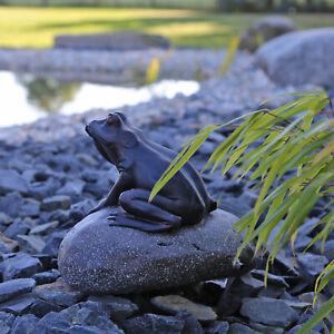 Figur Wasserspeier Frosch auf Stein CLGarden für Teich Springbrunnen Wasserspiel