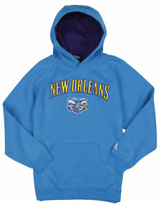 Adidas NBA Basketball Youth Boys New Orleans Hornets Pullover Hoodie, Blue