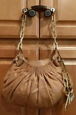 Juicy Couture Brown Leather Hobo Handbag Purse Gold Logo Charms Excellent Cond.