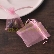100pcs 16x11cm Organza Wedding Party Decoration Gift Candy Sheer Bags Pink
