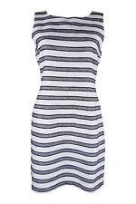*KEW* WHITE SLEEVELESS STRIPED COTTON DRESS (UK 10)