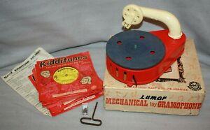 Vintage Lumar, Marx Clockwork Toy Gramophone, Original box & 11 Kidditunes 78's