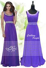 Long Chiffon Bridesmaid Formal Gown Ball Evening Prom Party Dress Size 8 -24 Cadbury Purple 18