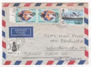 1987 CYPRUS Air Mail Cover NICOSIA to KÖLN GERMANY Birds Maps EMBASSY