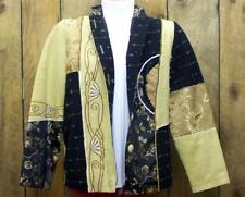 INDIGO MOON Jacket XS Patchwork Embroidered Wearable Art Embellished Tan Black