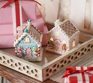 Valerie Parr Hill Set 2 Illuminated Ceramic Gingerbread Houses