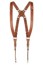 Dual Two Camera Harness Leather Light Brown Shoulder Strap Adjustable Size New