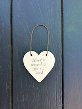 East of India Mini Wooden Heart on Wire Hanger Always Remember You Are Loved