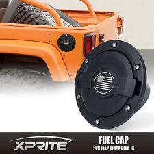 Black Aluminum Fuel Gas Tank Cap Cover w/ U.S. Flag for 07-17 Jeep Wrangler JK