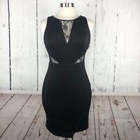 Guess Womens Dress Size 6 Little Black Lace Cutouts Mini Bodycon Slimming