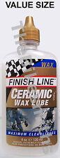 Finish Line Ceramic Wax Bike Lube Chain Oil Drip Bottle Economy Size 4oz Ounce
