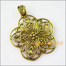 1 New Flower Antiqued Gold Bail Bead Fit Bracelet Chrams Connectors 53x67mm