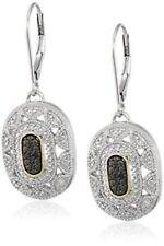 Earrings 9ct White Gold Sapphire & Diamond Drop Dangle 37 mm Art Deco design