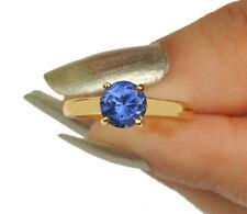 585er Gelbgold 1,10Ct Runden Form 100% natürliche blaue Tansanit Verlobungsring