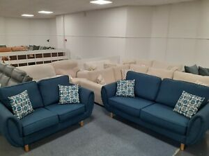 Zeus blue 3 seater and 2 seater sofas. Ex ScS stock