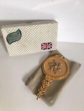 More details for vintage mirella turquoise stones & gold handbag hand mirror gilded
