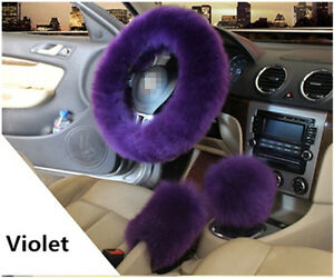 Car Steering Wheel Cover Violet Furry Woolen Fur Gear Knob Shifter Parking Brake